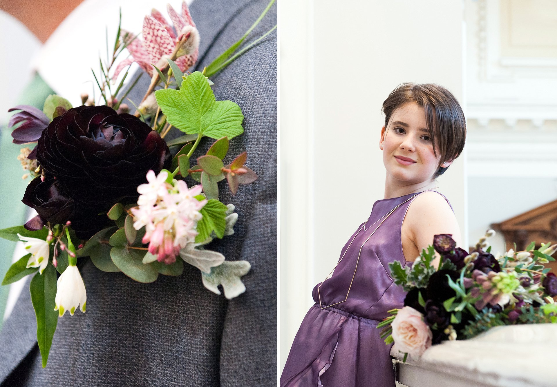 Groom's buttonhole and bridesmaid's wedding bouquet using wild, natural British flowers designed and supplied by Alison Billenness from Blackheath's Bloomologie