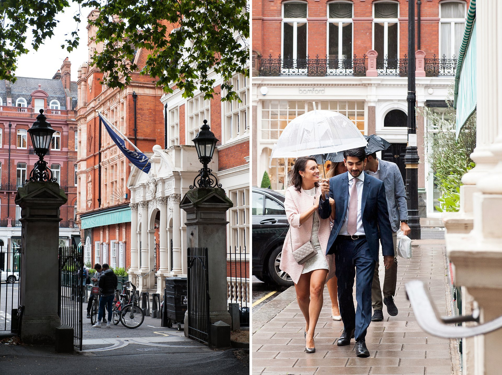Mayfair Library rainy wedding photography - the bride and groom arrive on South Audley Street in Mayfair for their civil marriage ceremony at Westminster Register Office taking cover under a clear umbrella due to the heavy Autumn rain