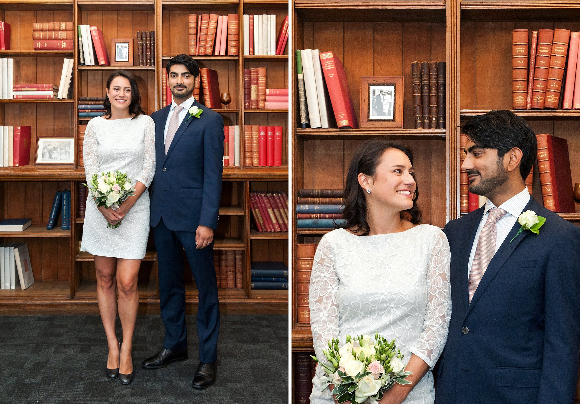 Wedding photography Mayfair Library - the stunning library bookcases make a fantastic backdrop when it is pouring with rain outside for this bride and groom after their Westminster civil marriage ceremony