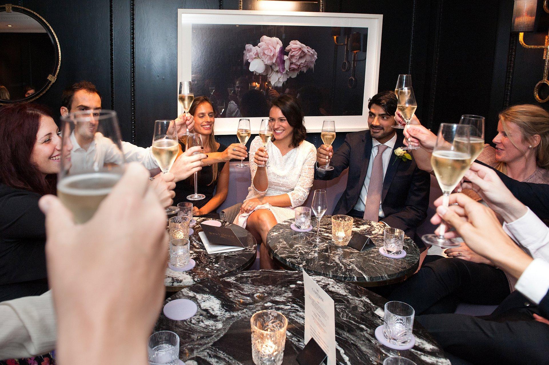 Wedding reception drinks in Cartizze Bar, Mayfair after a Mayfair Library wedding