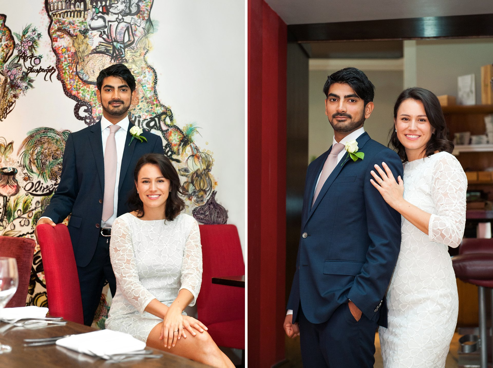 Mayfair wedding - the bride and groom married at Mayfair Library at nearby South Audley Street before makign their way to Cartizze in the pouring rain for a couple of portraits to mark their wedding