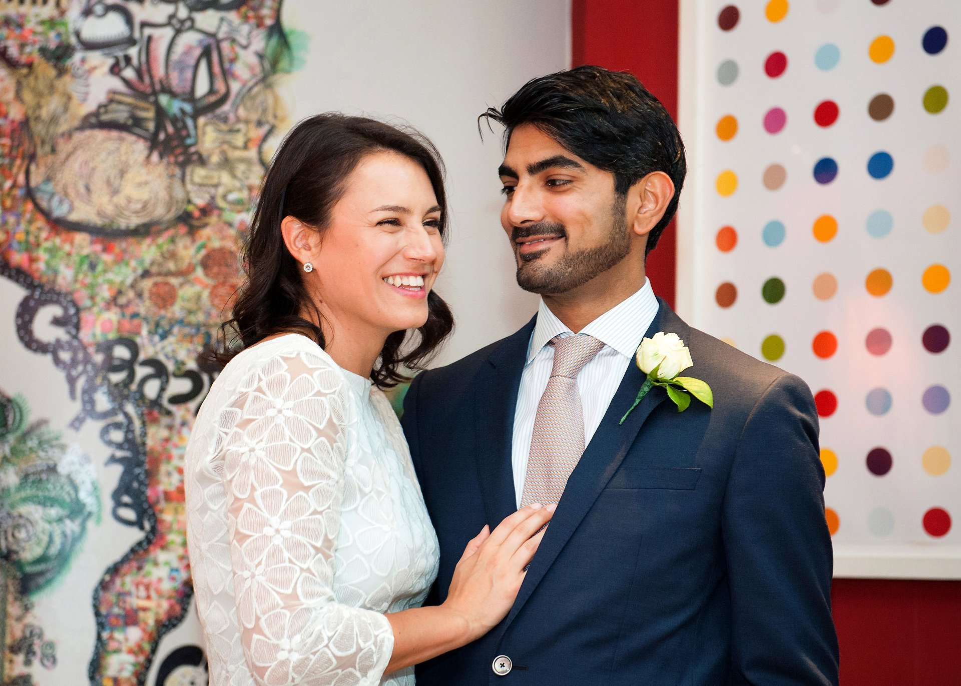 Westminster wedding - bride and groom on the first floor restaurant at Cartizze after their Mayfair library wedding