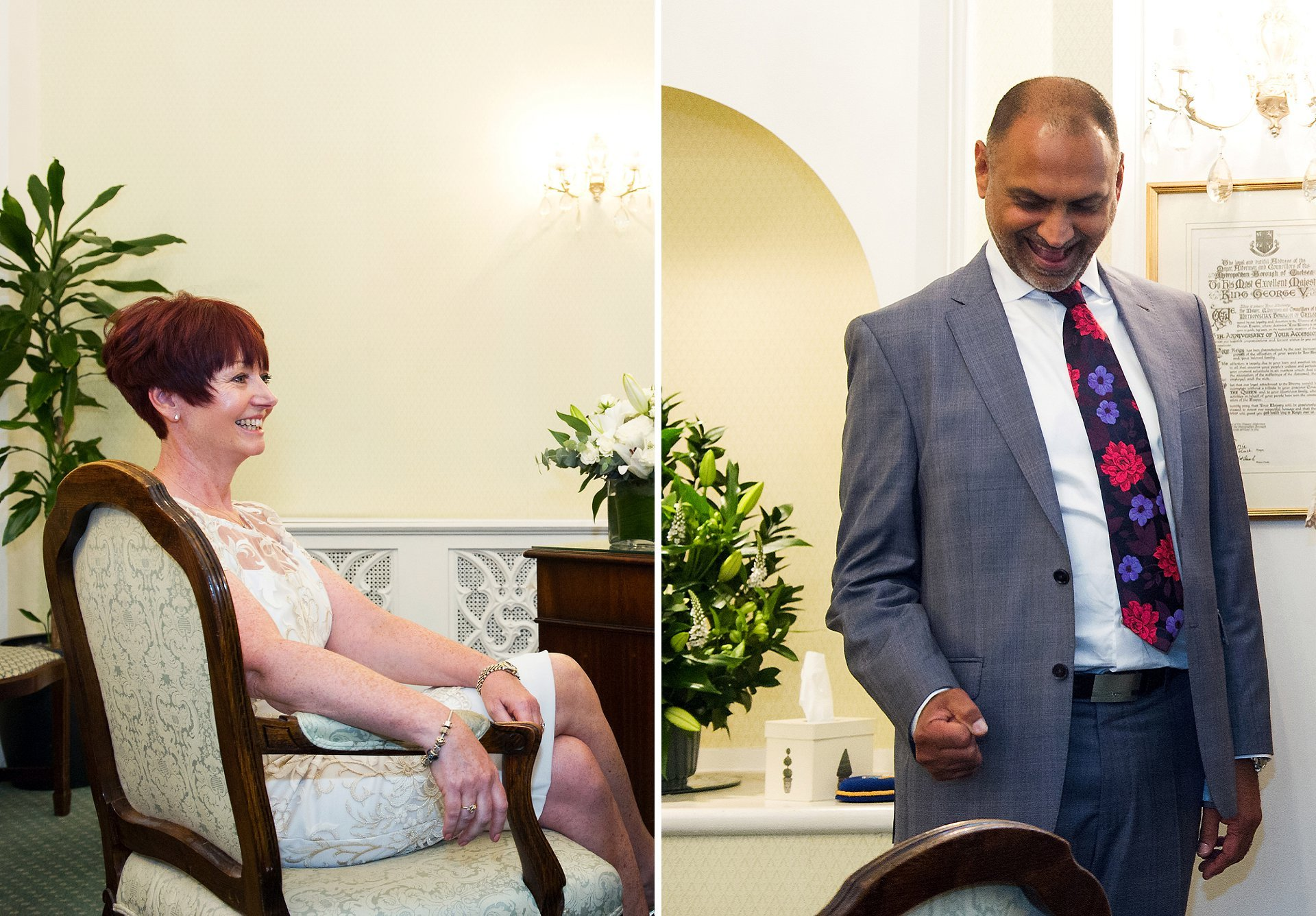 The bride smiles as her husband celebrates his civil marriage with a football style 'get in!'