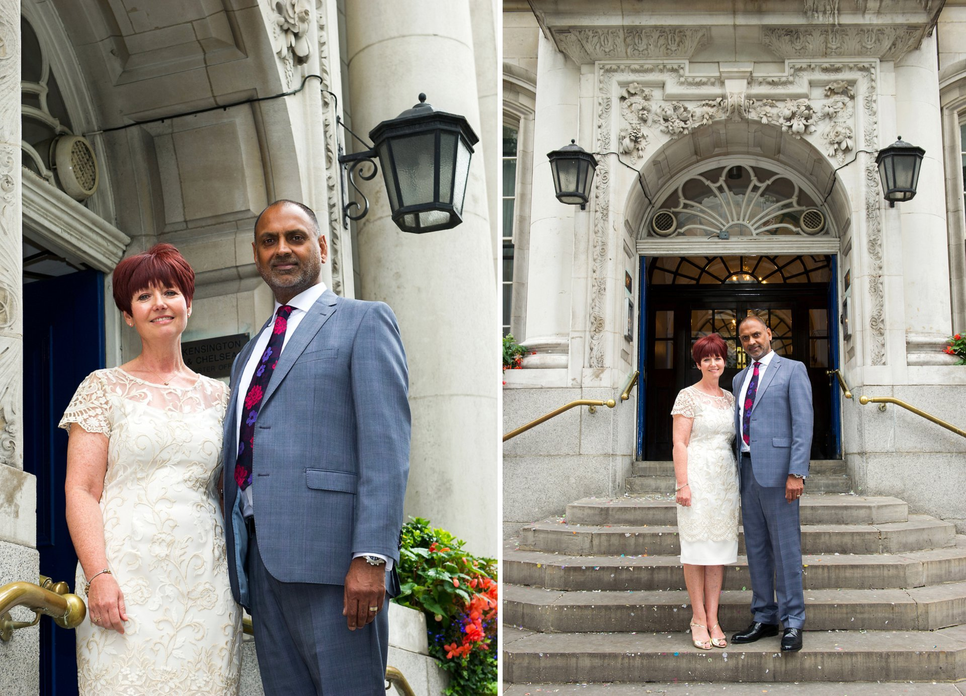 Bride and groom pose on the steps after their Chelsea Register Office marriage ceremony