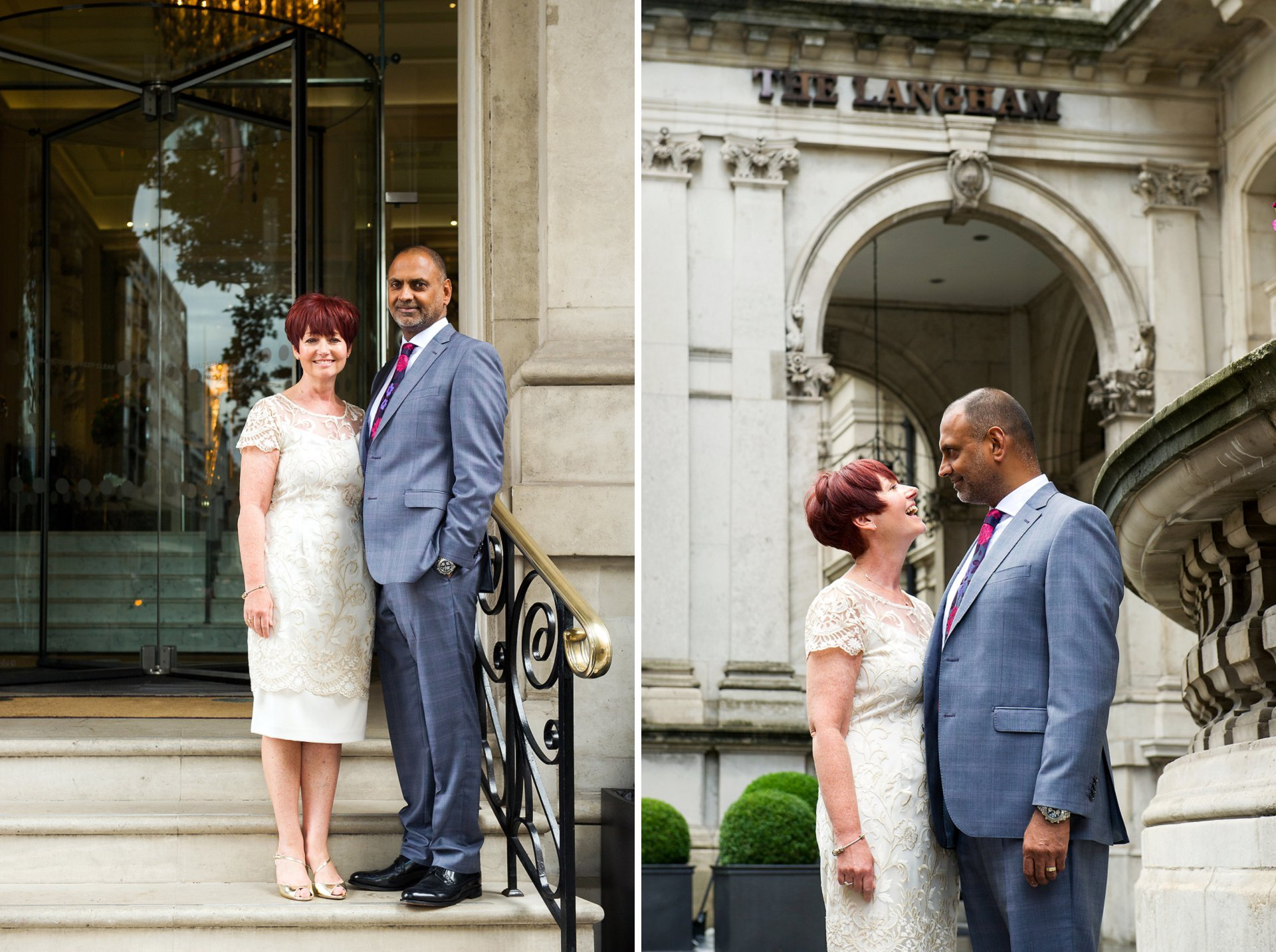 Bride and groom celebrate their wedding reception at the Langham Hotel followed by lunch at Roux at The Landau Restaurant