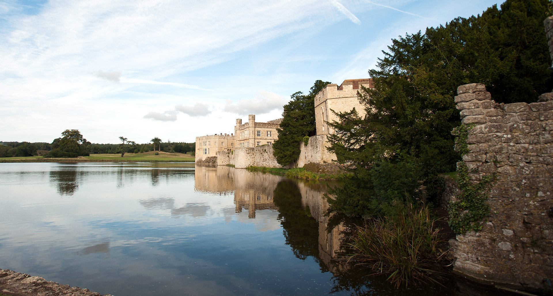 Leeds Castle in the Autumn is a wonderful Kent wedding venue for small intimate weddings and dinner in one of the many dining rooms