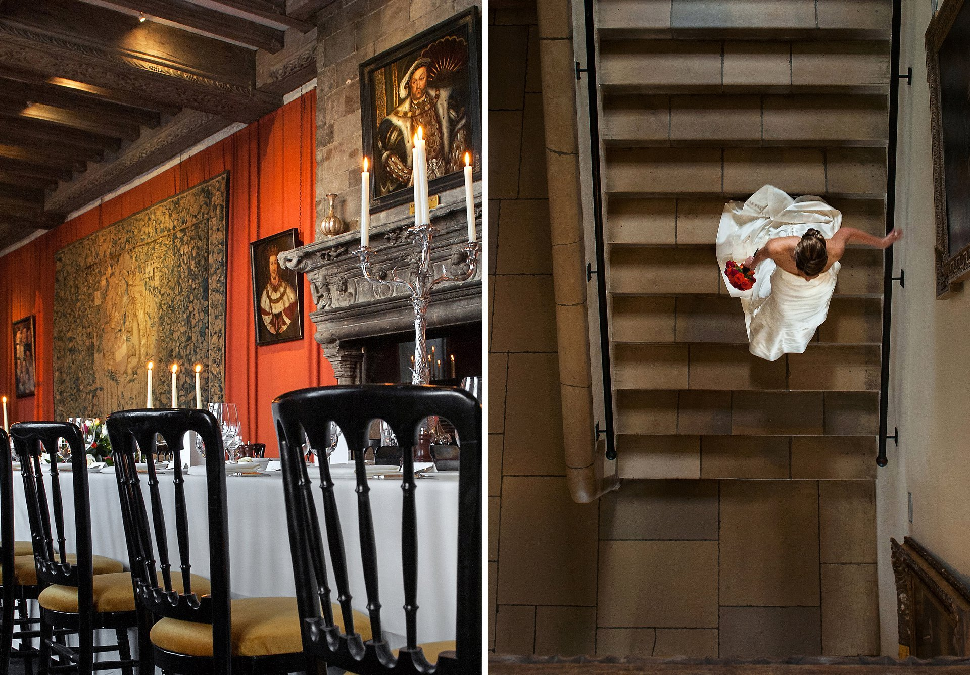 Henry VIII's portrait looks down on you as you celebrate your wedding reception in the loveliest castle in the World. The stone staircase is great for original looking wedding photographs and here the bride is captured walking dow the steps holding her flowers in one hand