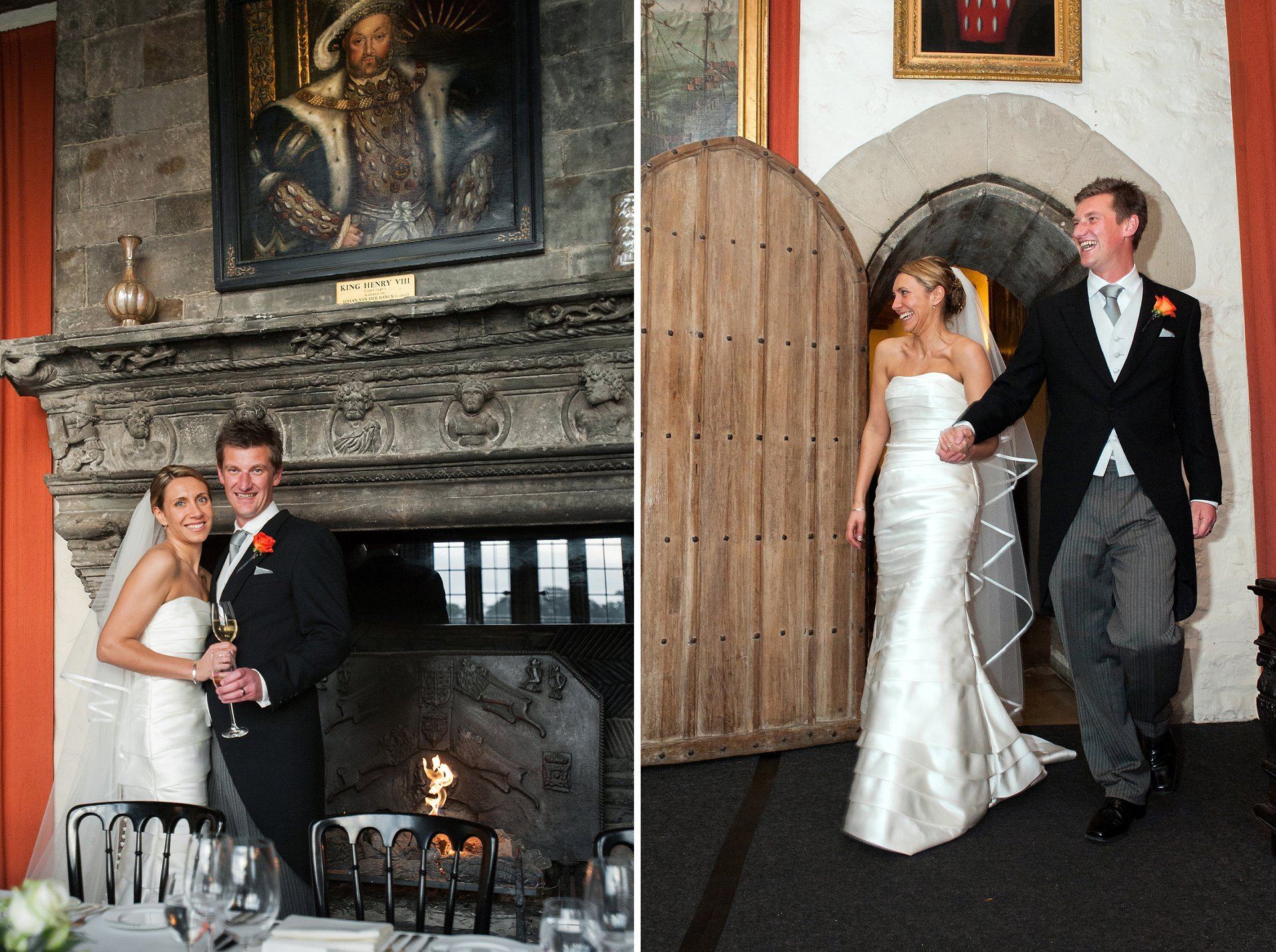 The bride and groom in the Henry VIII Banqueting Hall for their wedding breakfast