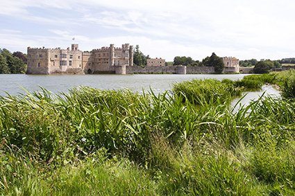 Wedding photographer Leeds Castle, Maidstone, Kent, this a view of the Castle island surrounded by the lake
