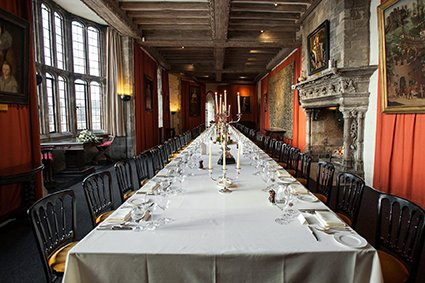 Henry VIII Banqueting Hall laid for an intimate Leeds Castle wedding breakfast for 50 people