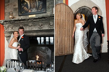 Leeds Castle Autumn wedding with the fire lit in the Henry VIII Banqueting dining room and the bride and groom's grand entrance to their wedding breakfast