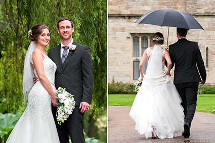 Leeds Castle rainy wedding works beautifully with umrellas and an electric golf cart
