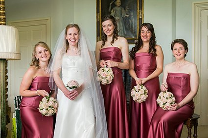 Bride and her bridesmaids in the Turret dressing room of Leeds Castle