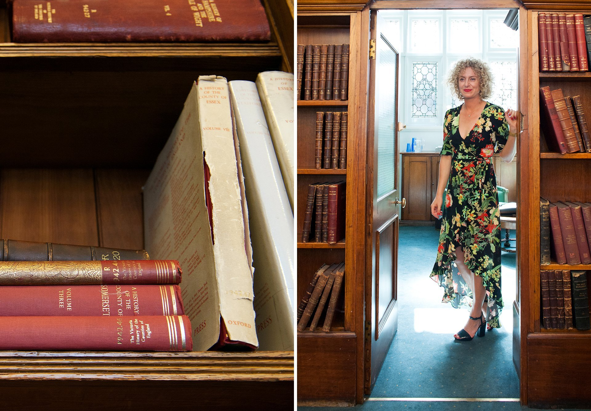 Mayfair Library has a wonderful selection of antique books on display in their ceremony rooms and here the bride, Jodie, waits for the start of her ceremony. She wears a floral print wrap dress with trim detail in black, green, yellow, orange, red and pale pink and this is teamed with black heeled sandals
