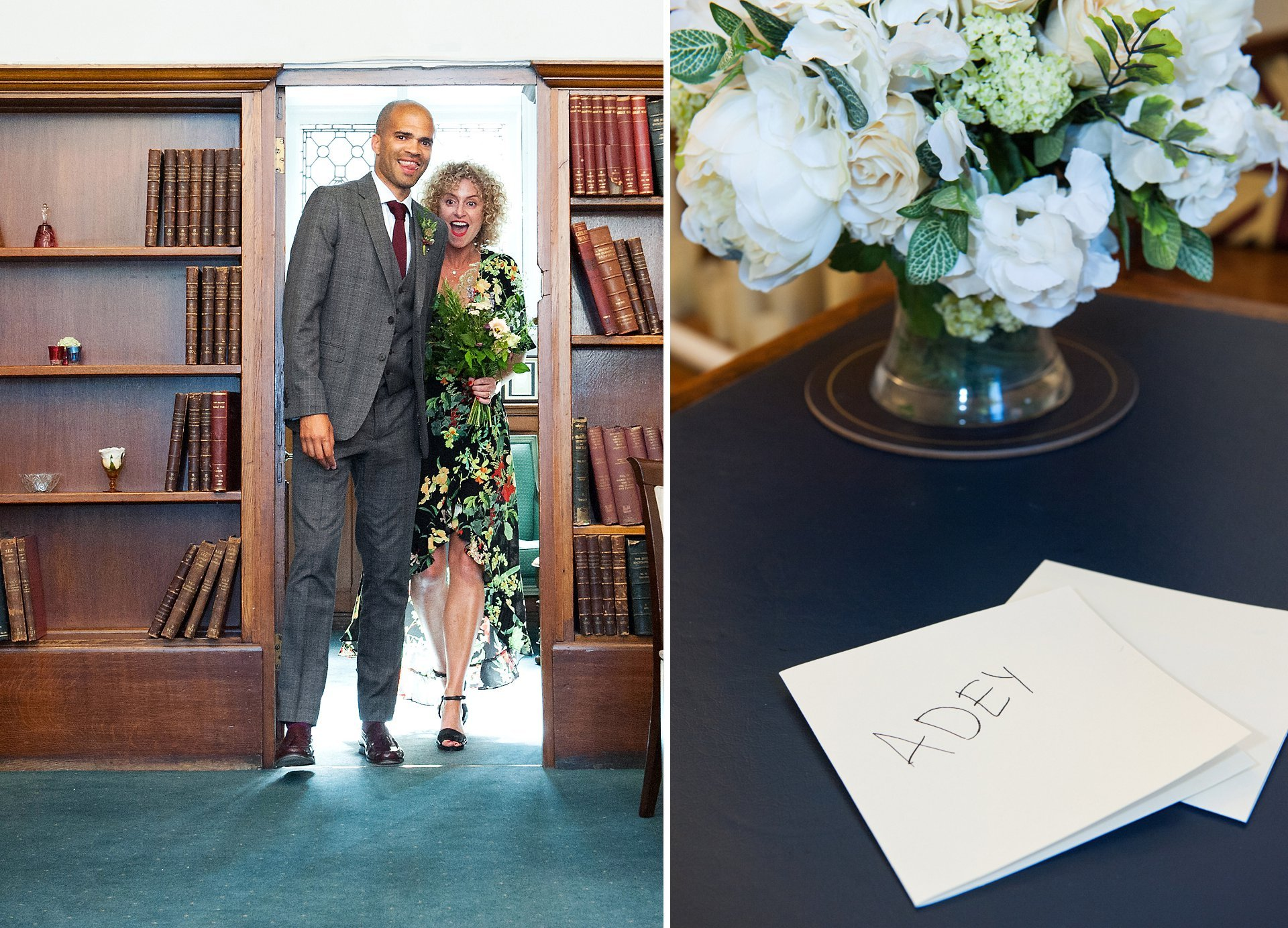 Jodie and Adrian enter the Marylebone Room at Westminster Register Office with beaming smiles. Their personal vows sit on the main ceremony table ready to be read during the ceremony