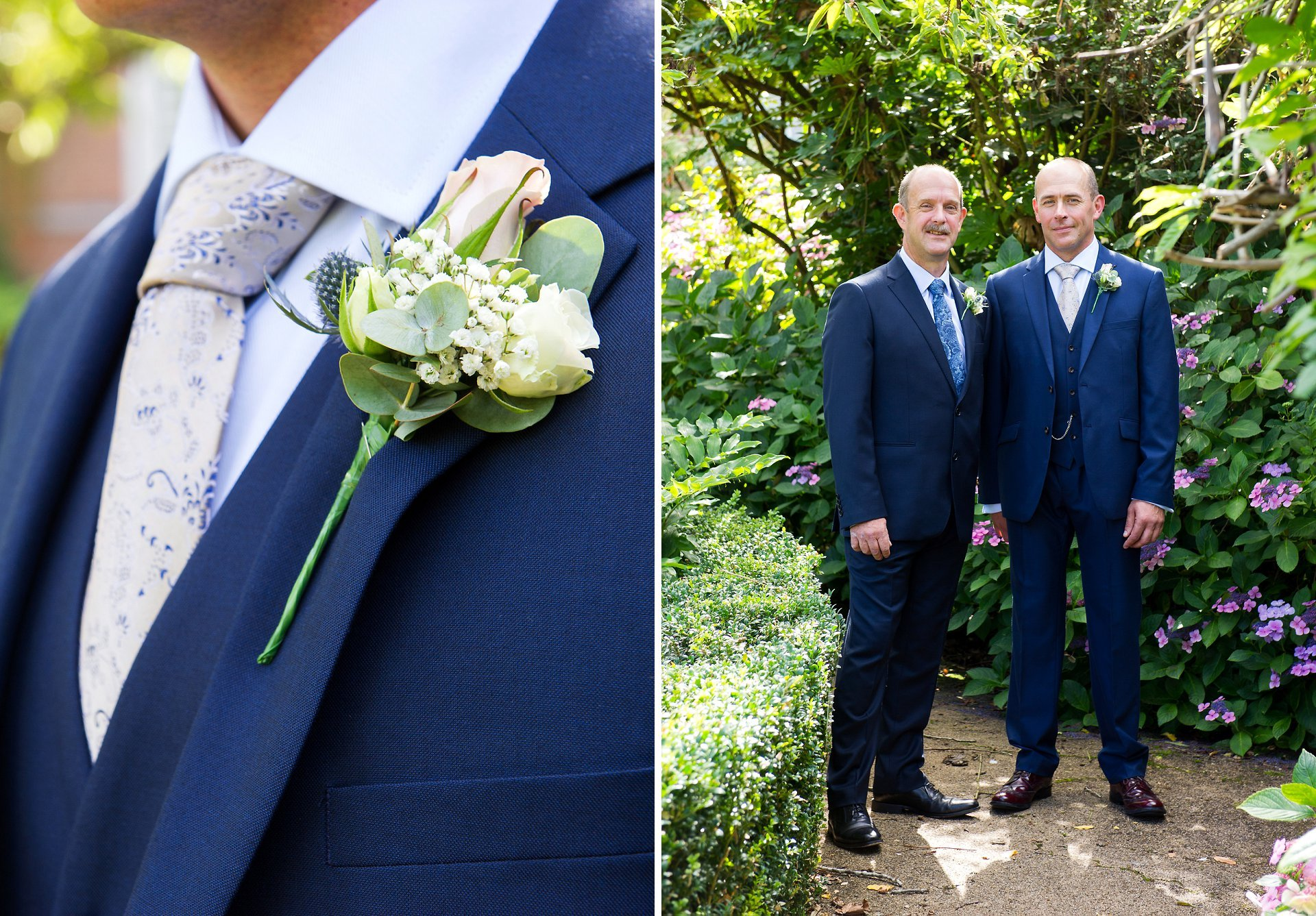 Park House Horsham wedding photographer Emma Duggan photographing the groom and his best man just before their Horsham Registry Office wedding. The gardens are a very pretty backdrop for wedding photographs