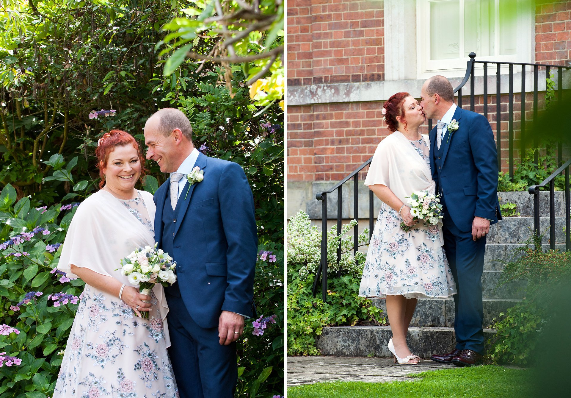 Park House Horsham wedding photographer Emma Duggan specialises in registry office weddings in West Sussex - the bride and groom pose for photos in the garden which backs onto Park House in Horsham and leads to Horsham Park and the Conservatory Cafe
