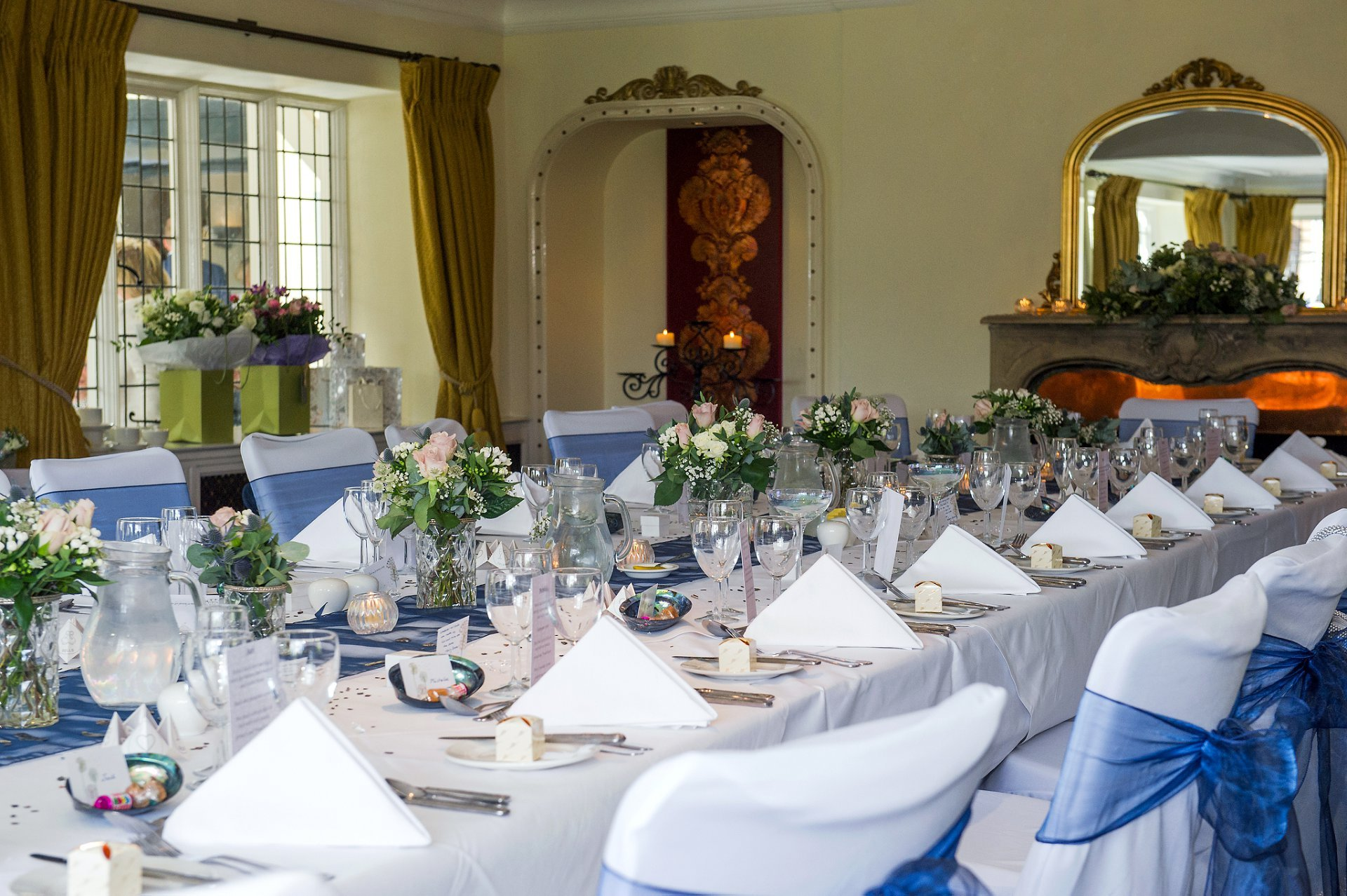 The Terrace Room at Ghyll Manor is an ideal wedding reception venue for around 20 guests and here is set for a wedding breakfast