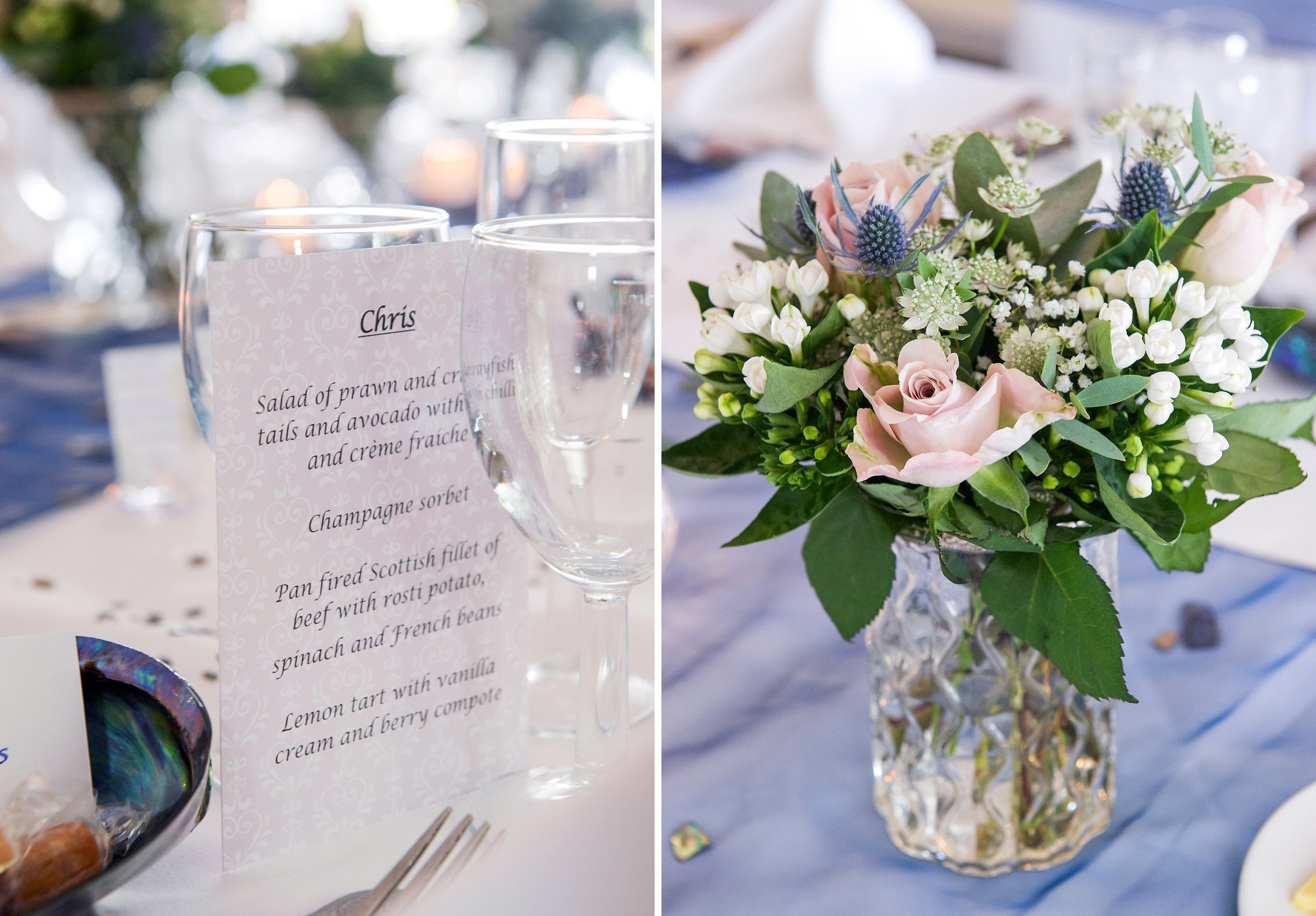 Menu card and table flowers in glass vases at Ghyll Manor