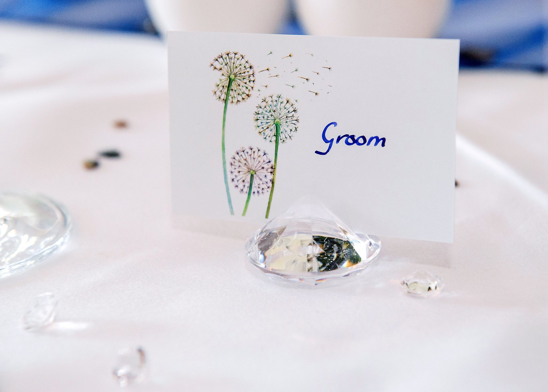 Handwritten nameplaces set in crystals in the Terrace Room at Ghyll Manor in West Sussex