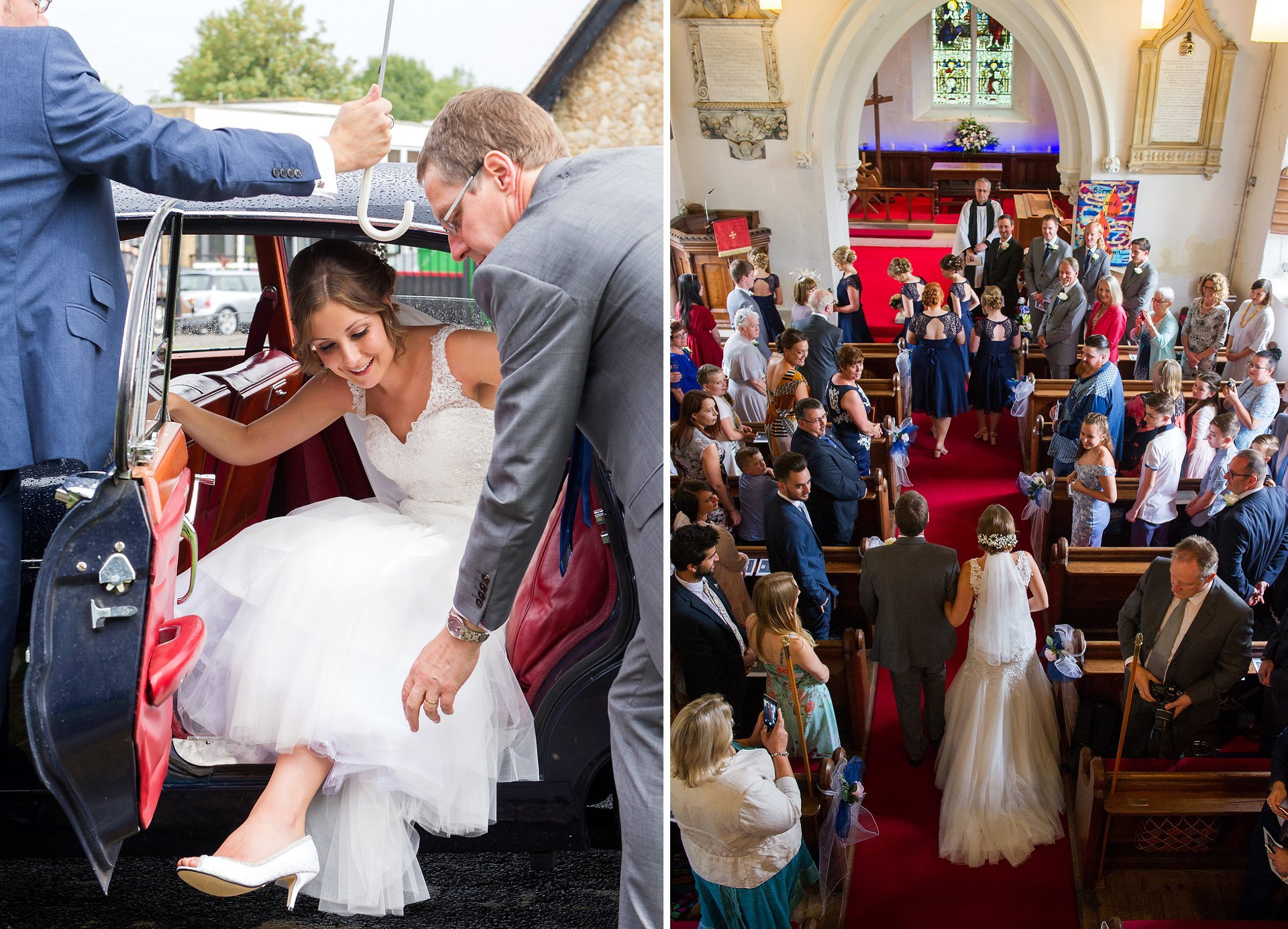 The bride emerges from her car, helped by her father, and enters the Church of St Peter's in Ditton on her Father's arm. It is very impressive from the gallery position of the Church where you are able to see the wedding dress in full flow