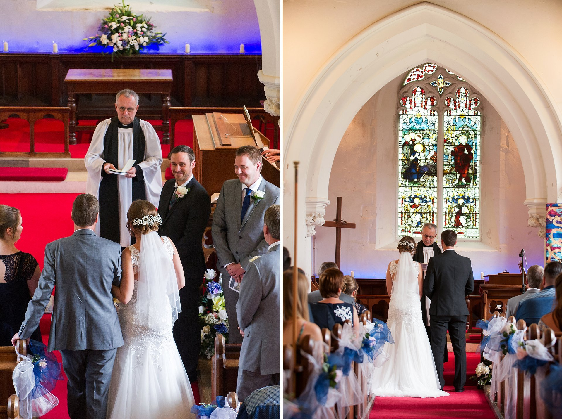 The groom, Brady, smiles warmly as his bride reaches the end of the aisle ready for their marriage blessing in this pretty Kent church