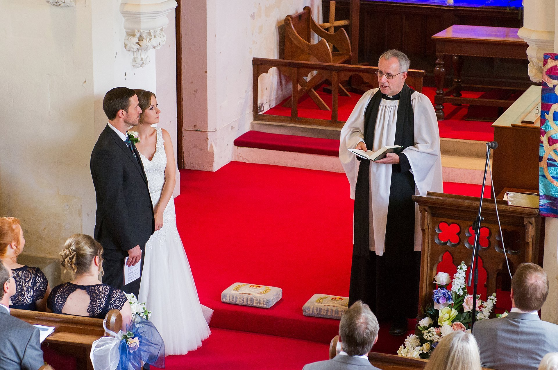 Ross Terranova at St Peter's Church Ditton delivers the homily during this marriage blessing service in Kent