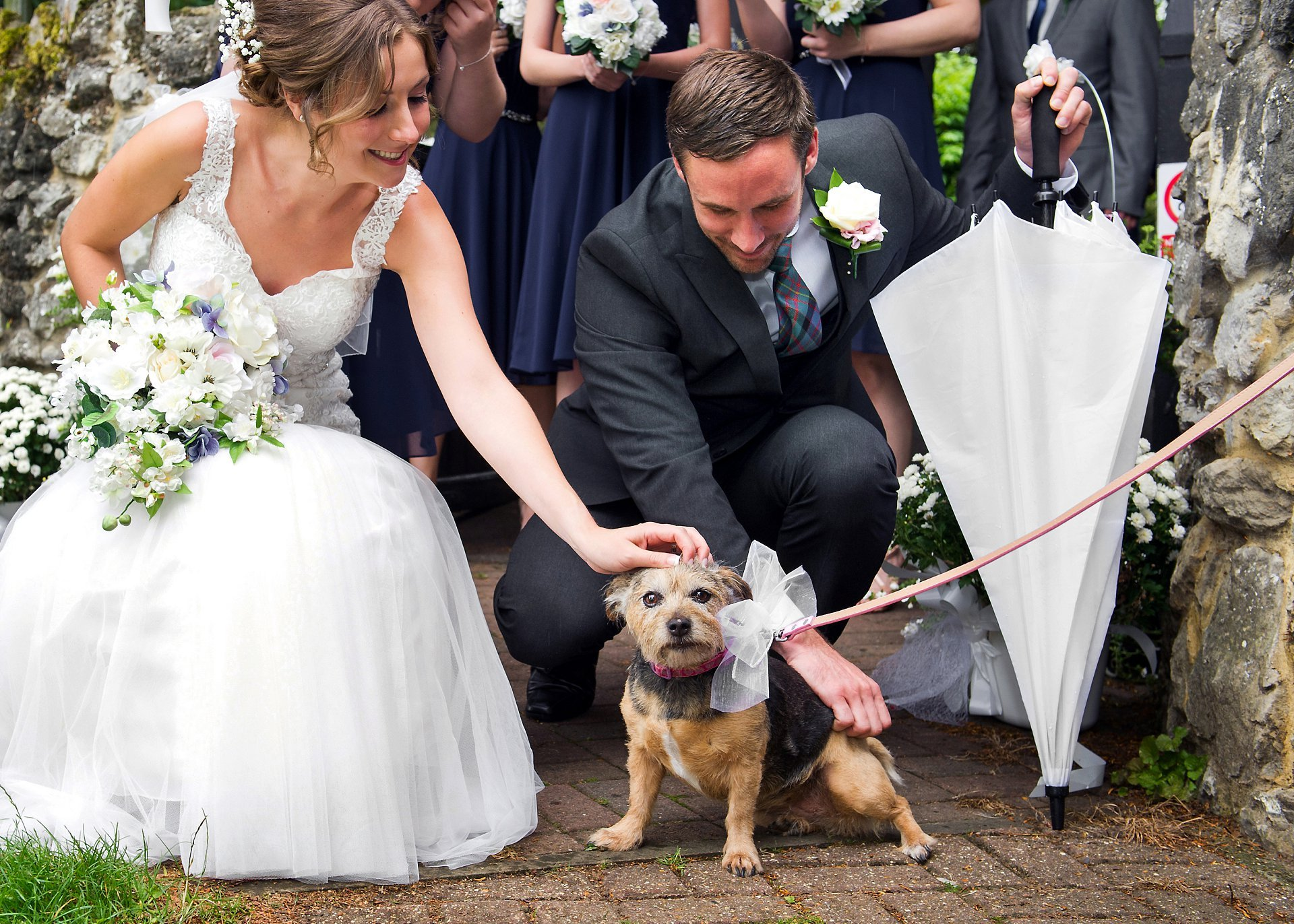 It's hard to exclude the family dog from your wedding so here was a surprise for the bride and groom. A friend brought along the family pet, decorated in an adorable bow, to surprise teh bride as she walked out of St Peter's Ditton. The bride's reaction was priceless and the dog was thrilled