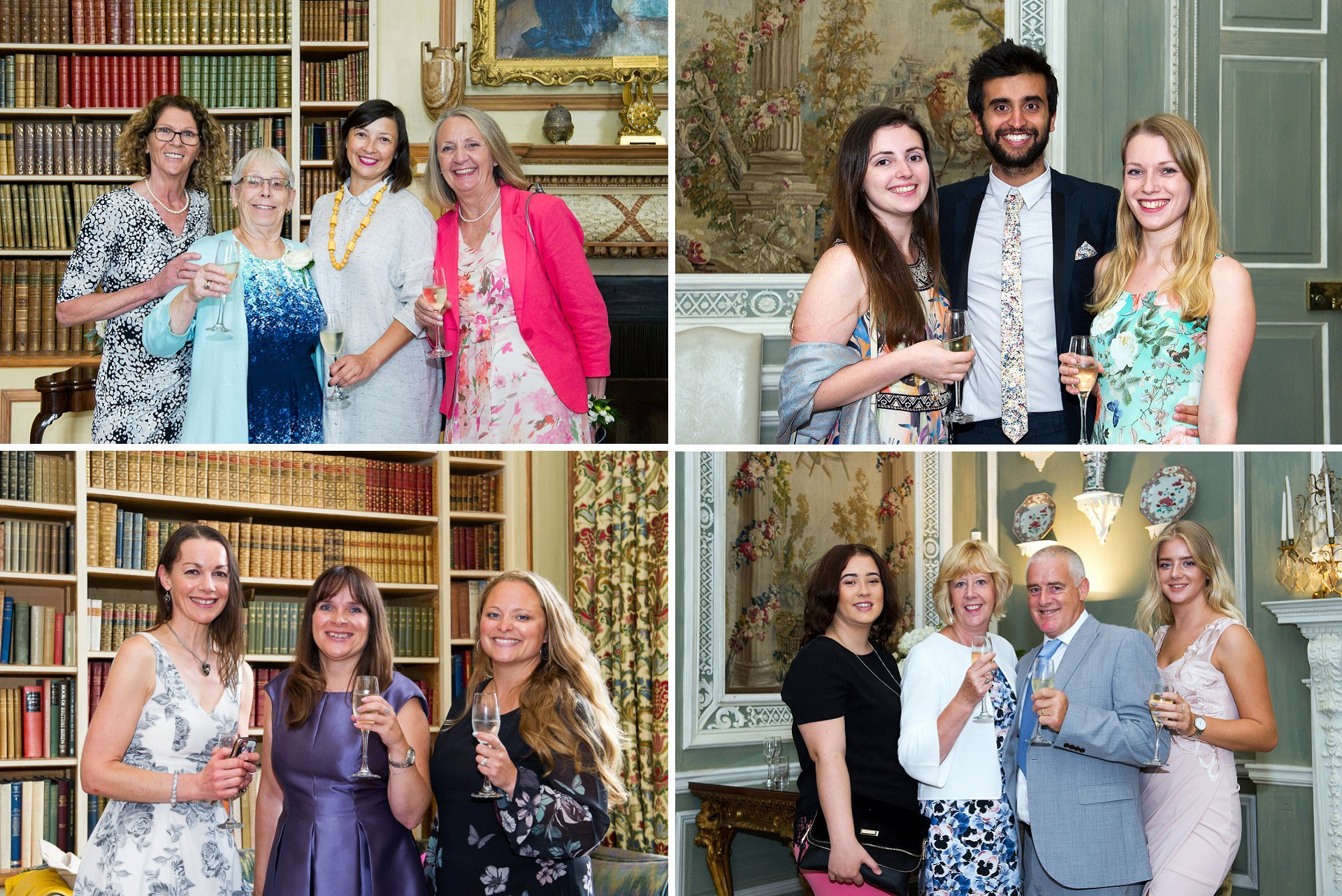 Guests enjoying a champagne drinks reception in the library and breakfast (ceremony room) at Leeds Castle