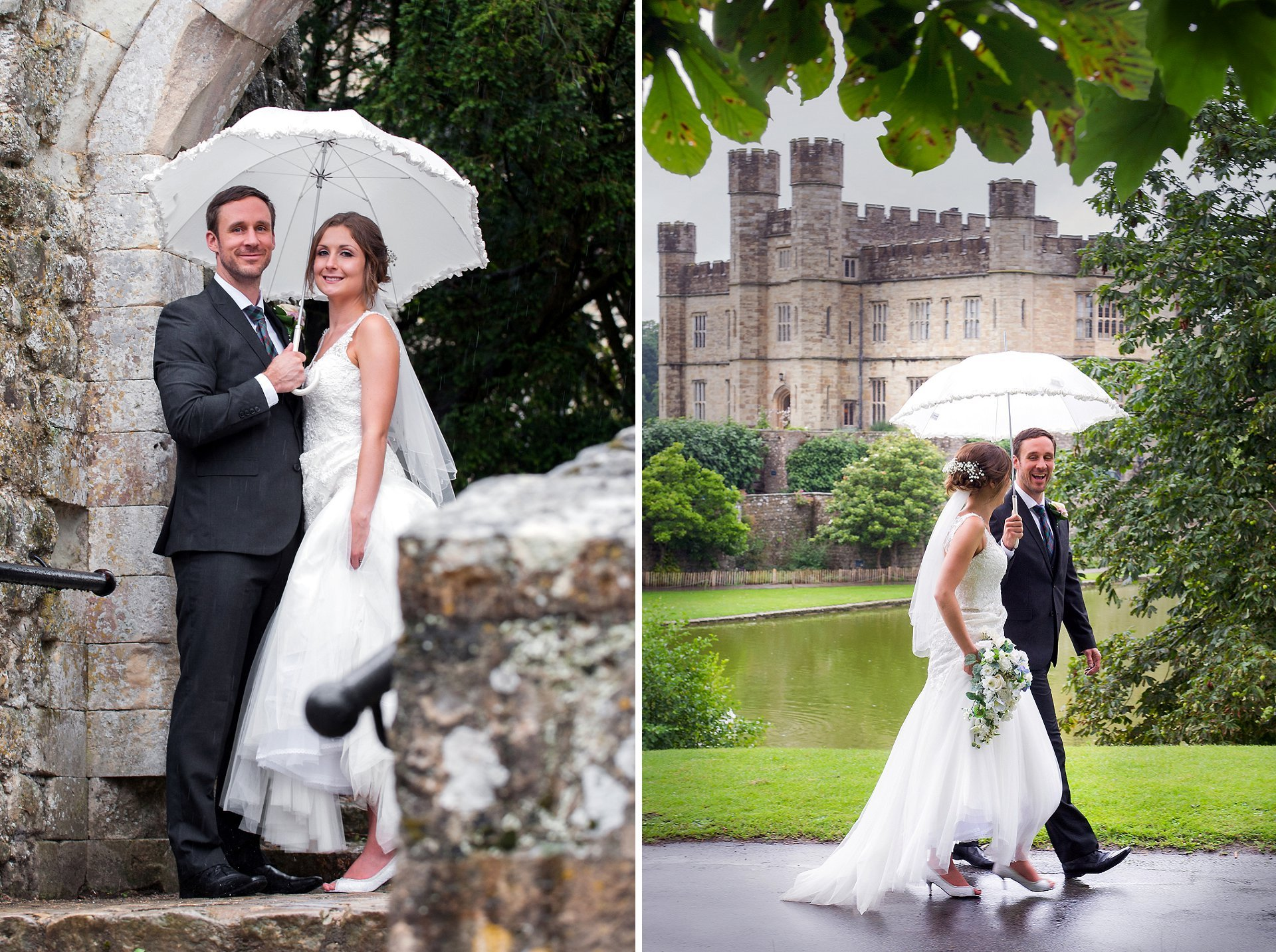 Bride & groom at Leeds Castle during their wedding day in the old ruin (portcullis) and in front of the side view, with the groom laughing