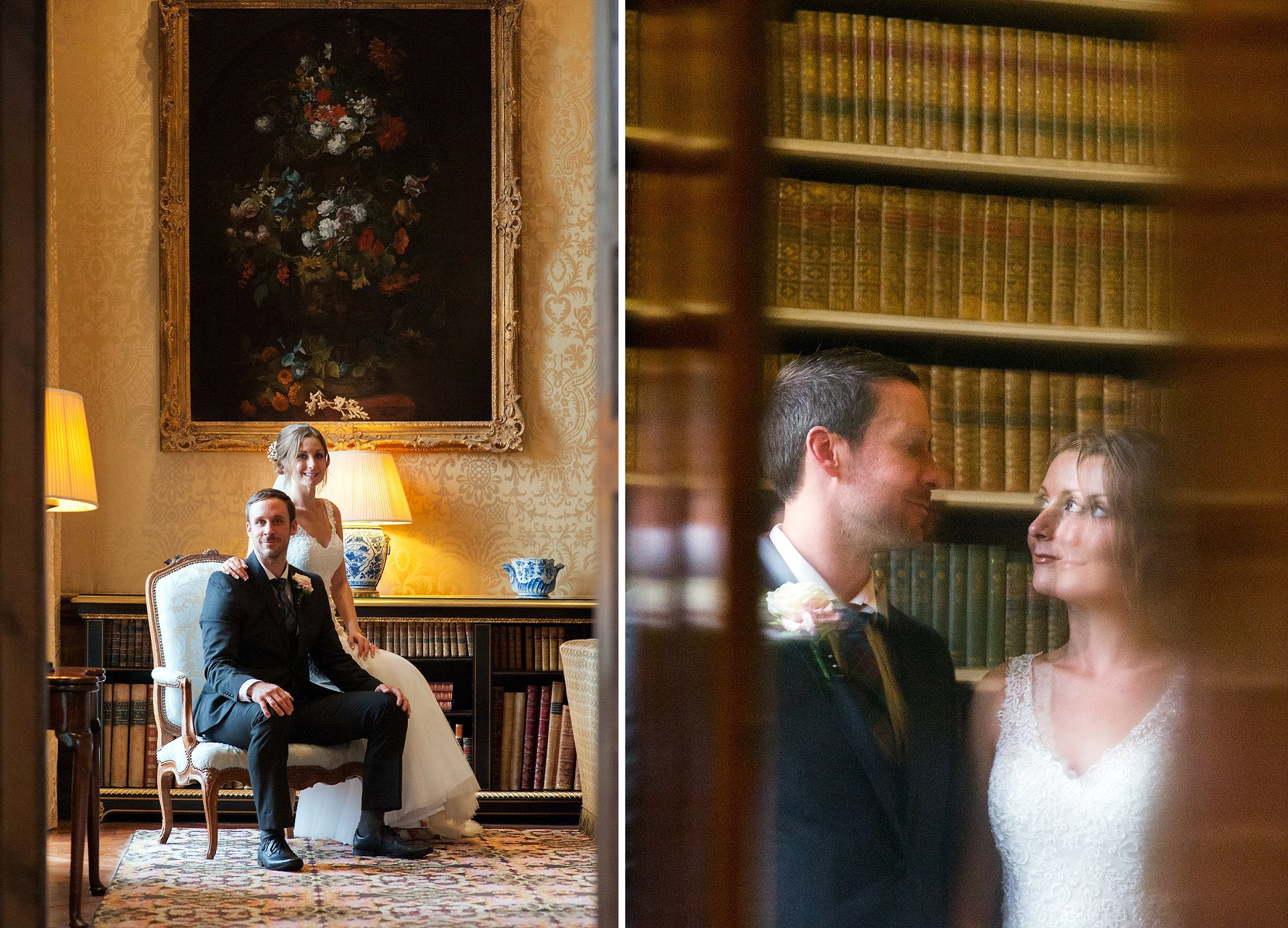 Wedding couple portraits in the Drawing Room (yellow piano room) and library at Leeds Castle