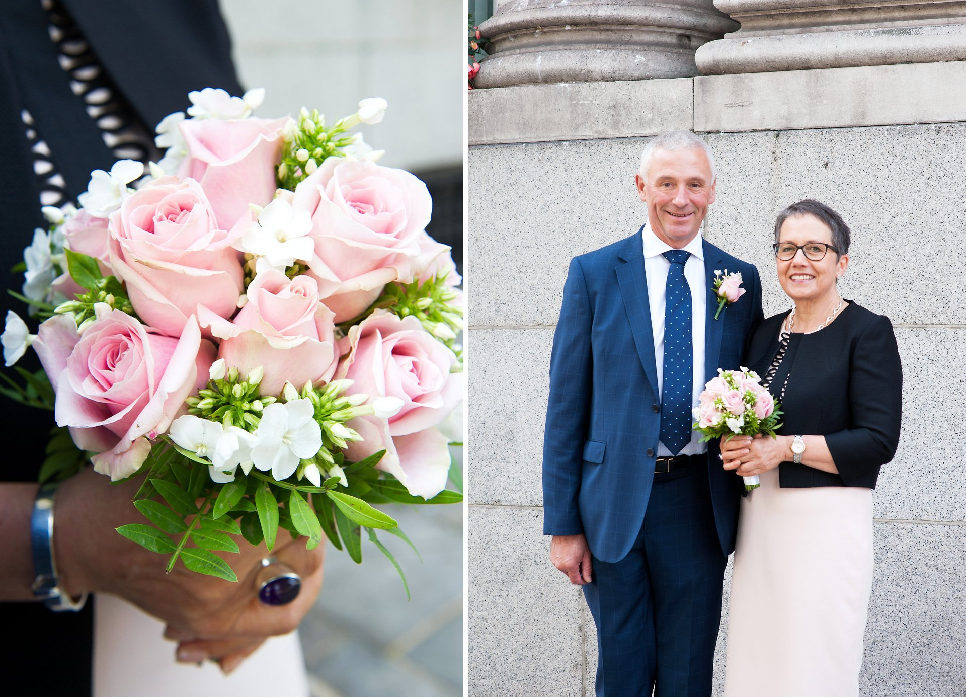 pale pink roses, navy, black and taupe work beautifully for thsi bride and groom at chelsea old town hall