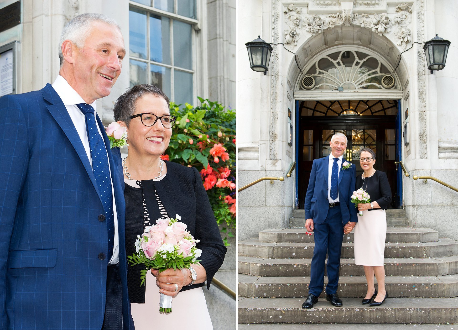 the happy couple pose for photograph on the steps at chelsea old town hall as husband and wife