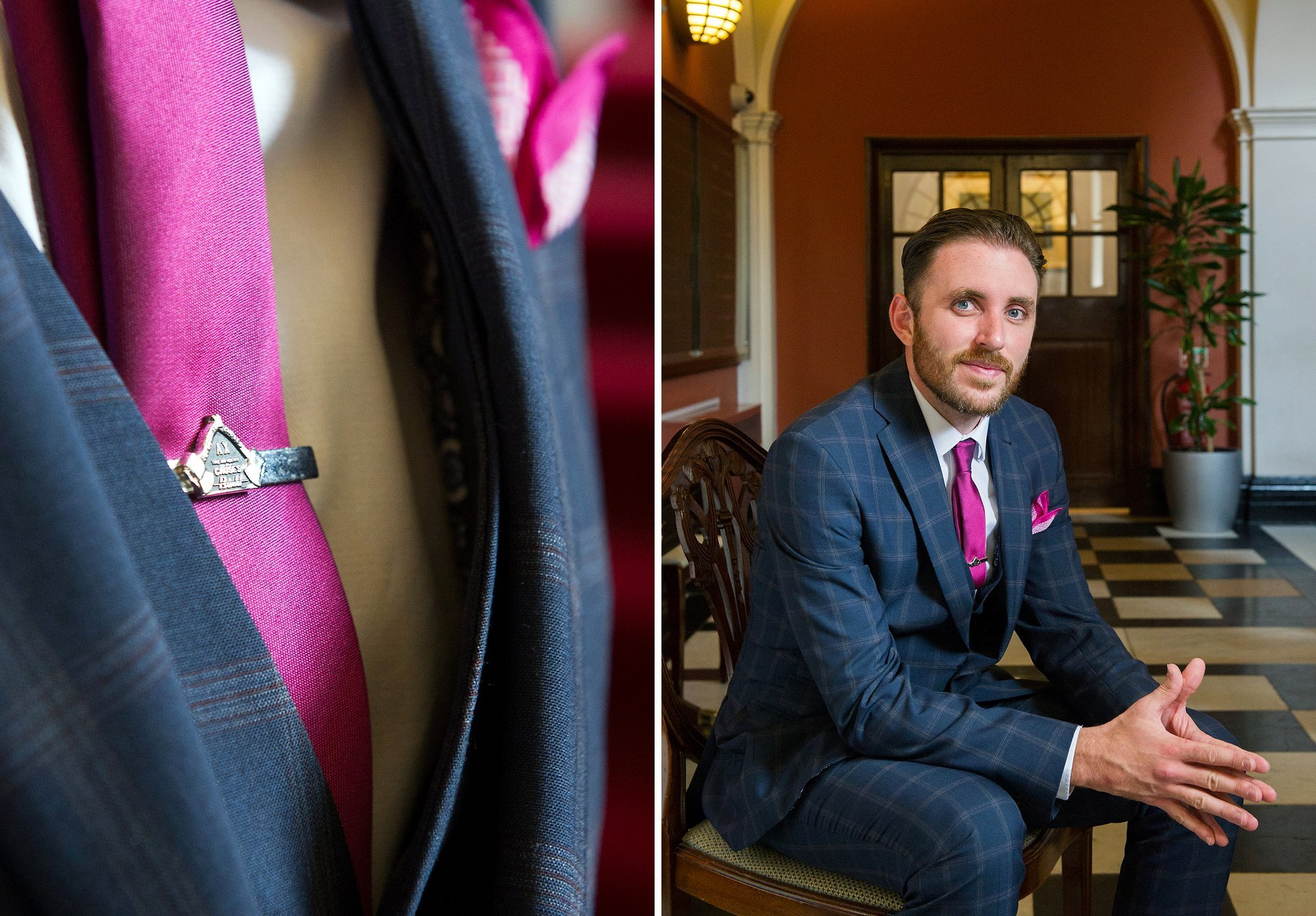 Groom wearing a check blue three-piece suit, deep magenta tie and matching handkerchief and vintage tie pin in the waiting room at Chelsea Old Town Hall