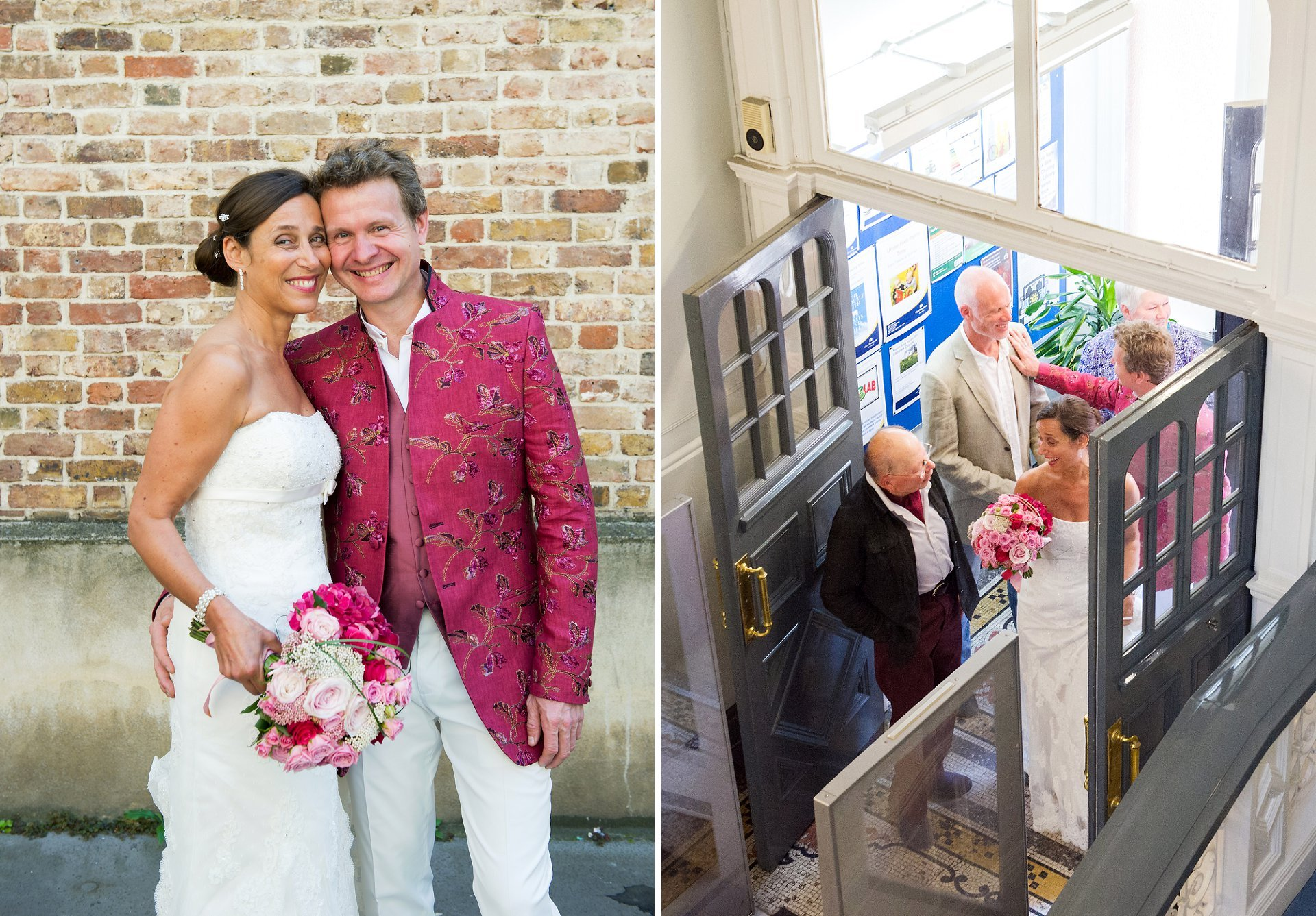 French couple marrying in London at Westminster Register Office, Mayfair Library, in bright colours of raspberry