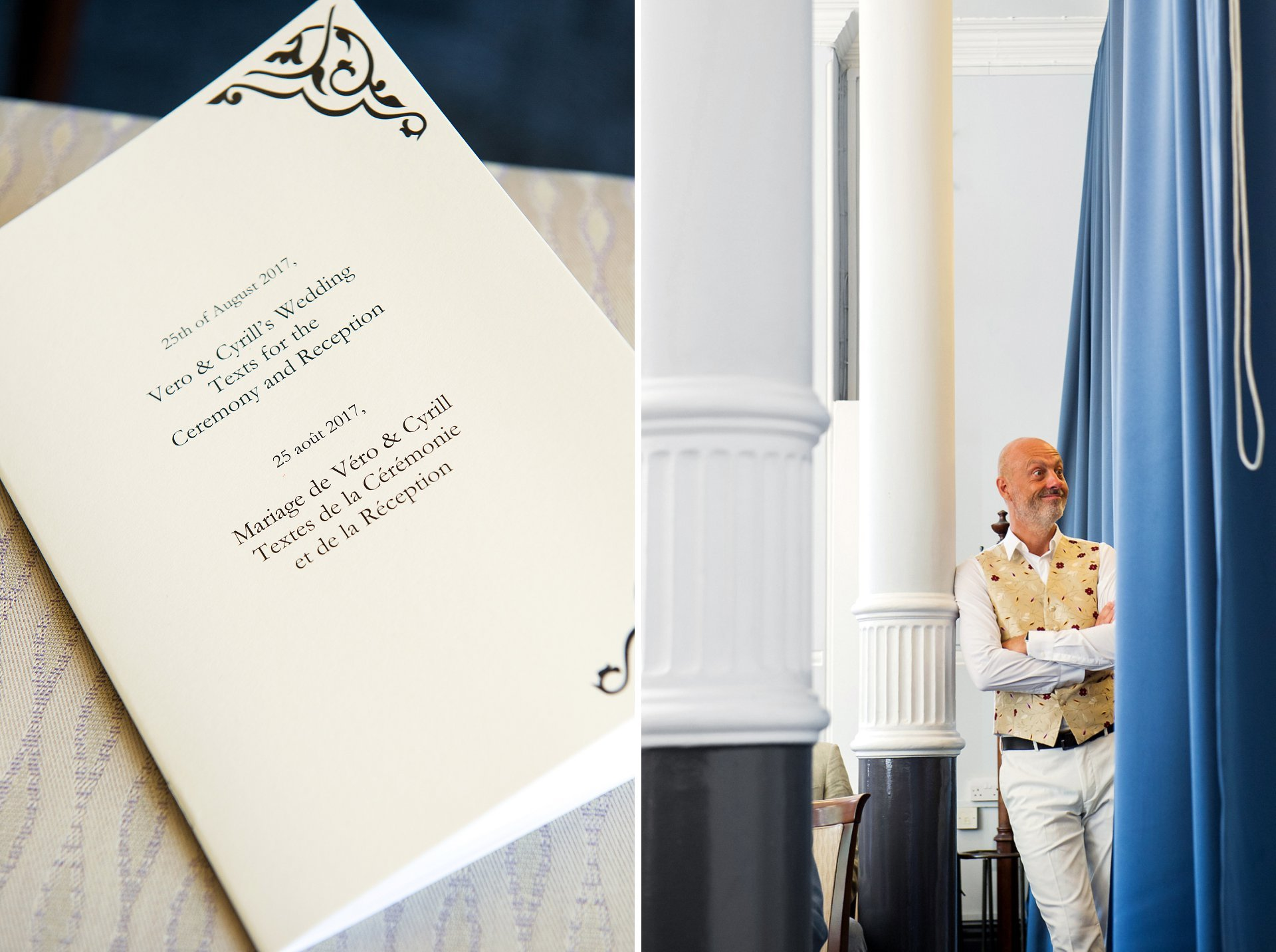 Vero and Cyrill's order of service in English and French for their London Registry Office wedding in the Mayfair Room at Mayfair Library