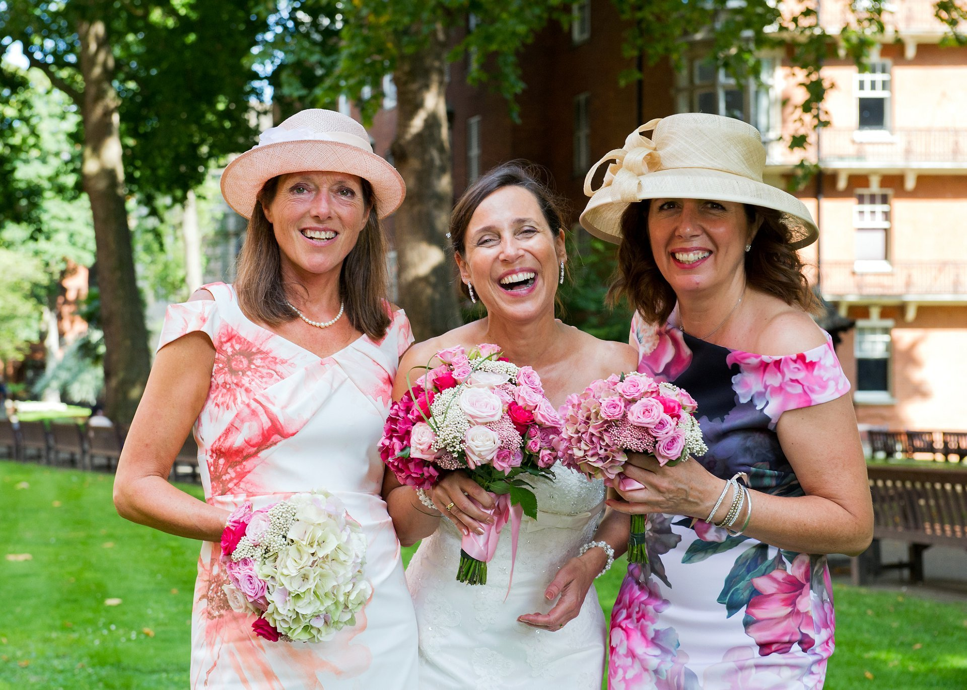 The bride and her friends in Mount Street Gardens