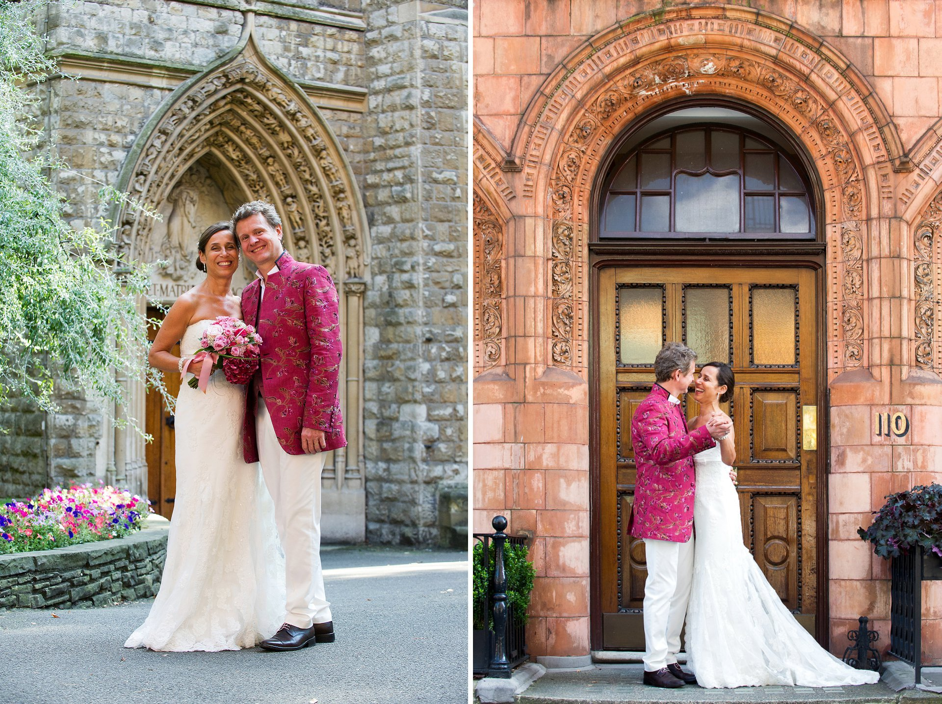 A bride and groom in Mount Street Gardens and on Mount Street after their Mayfair Library wedding