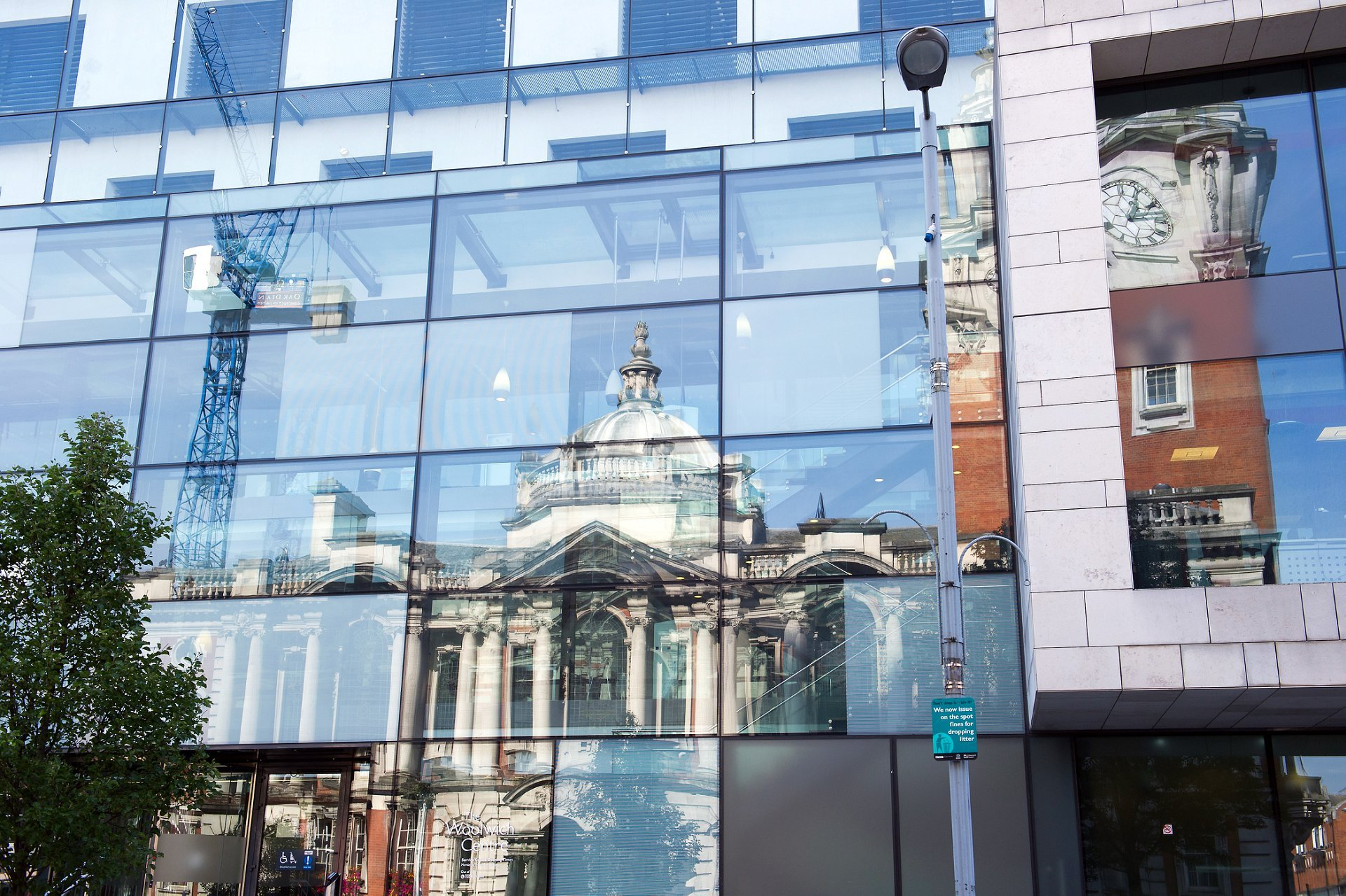 Greenwich Wedding Photographer Woolwich Town Hall reflected in the Woolwich Centre for Greenwich Register Office weddings in the Royal Borough of Greenwich