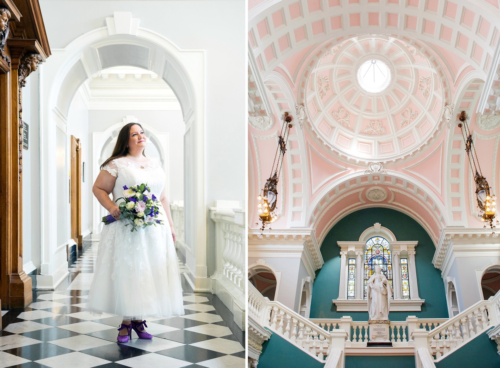 A bride at Greenwich Registry Office wearing a 50s inspired calf length lace dress and purple sparkly shoes tied with ribbon. The pale pink painted domed ceiling inside Victoria Hall at Woolwich Town Hall