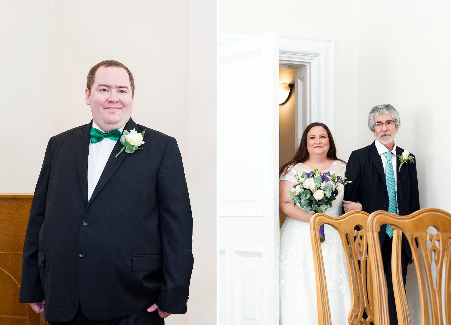 A groom in the Edwardian Room of Greenwich Register Office turns to see his bride entering with her father. Woolwich Town Hall wedding photography by Emma Duggan