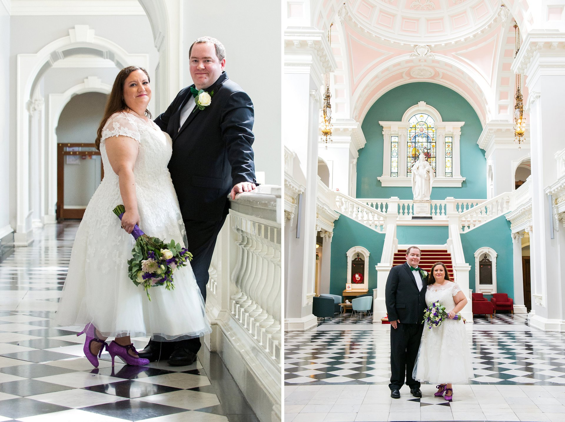 Bride and groom in Woolwich Town Hall's Victoria Hall