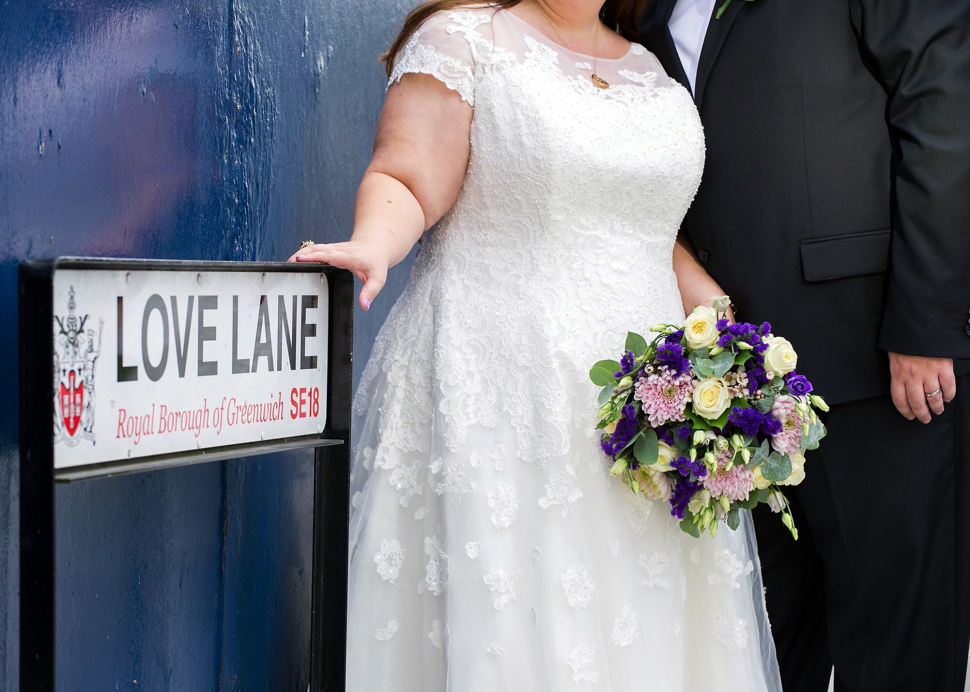 The Love Lane street name and a bride and groom by Greenwich Wedding Photographer Woolwich Town Hall, Emma Duggan