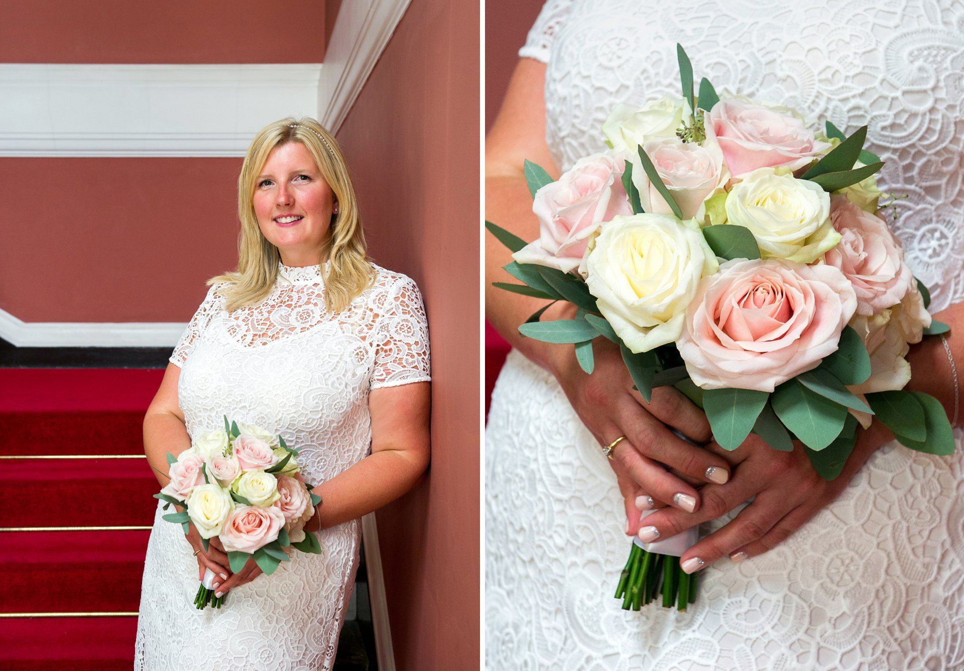 A Chelsea Register Office bride in white lace shift dress and pale pink and cream rose bouquet just before her Chelsea civil marriage ceremony