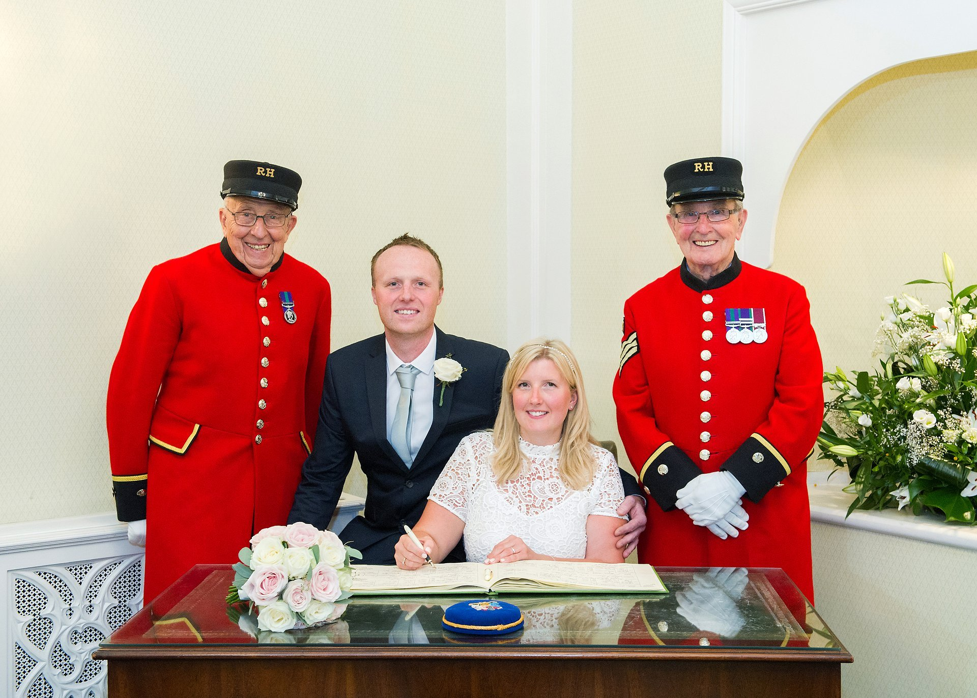 Chelsea Pensioners as witnesses for a small family wedding in the Rossetti Room at Chelsea Town Hall
