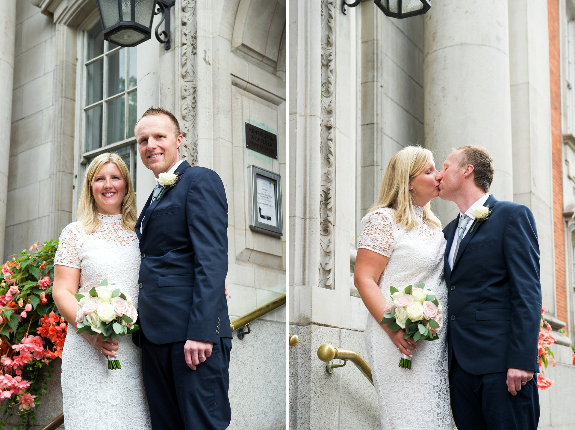 Bride and groom on the steps of Chelsea Register Office