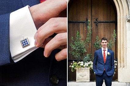 A groom in navy for his Westminster Register Office wedding