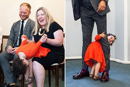 A littel girl has fun during her parents wedding at London wedding venue Westminster Register Office