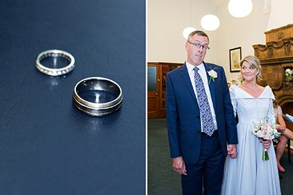 Wedding rings in Westminster Register Office and the groom listening for any of his guests opposing the impending marriage