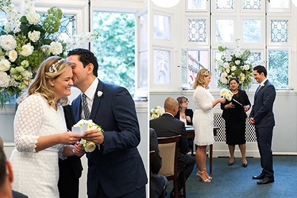 Wedding photography at Westminster Register Office by Emma Duggan here showing a bride and groom exchanging personal vows to each other